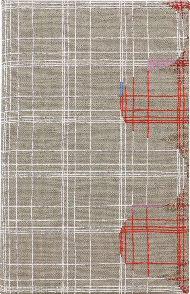 "Samantha Bittman. ""Untitled,"" acrylic on hand-woven textile"
