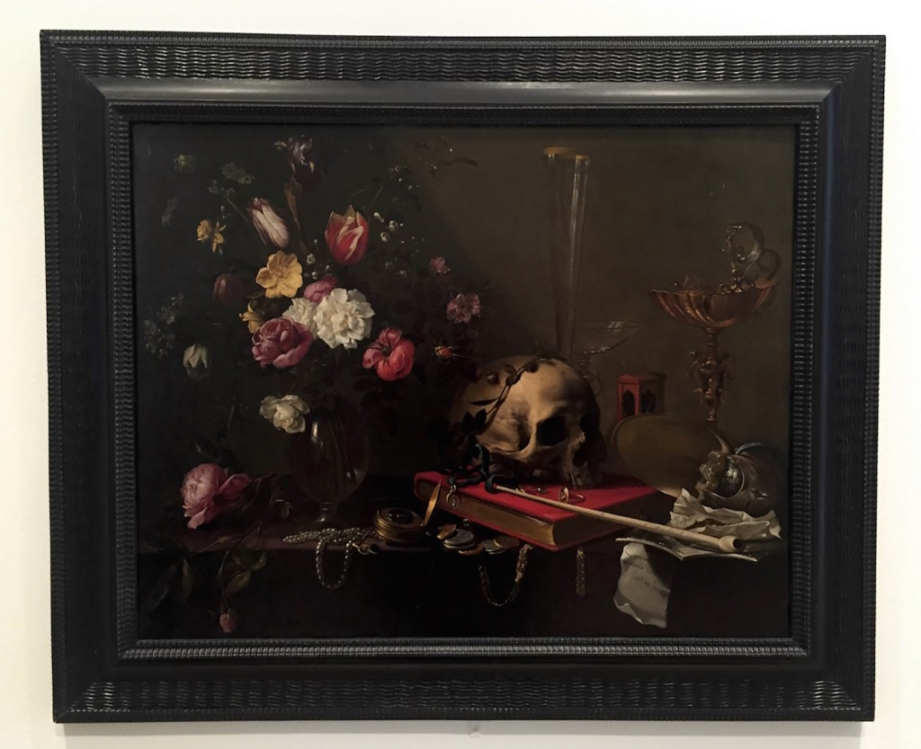 "Adriaen van Utrecht.  ""Vanitas, Still Life with Bouquet and Skull,"" circa 1643, oil on canvas."