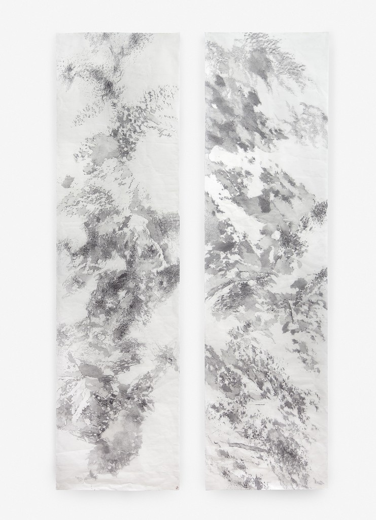 """Mariana Sissia. """"Mental Landscape #1,"""" 2015 graphite on rice paper 98.5"""" x 27"""" each"""