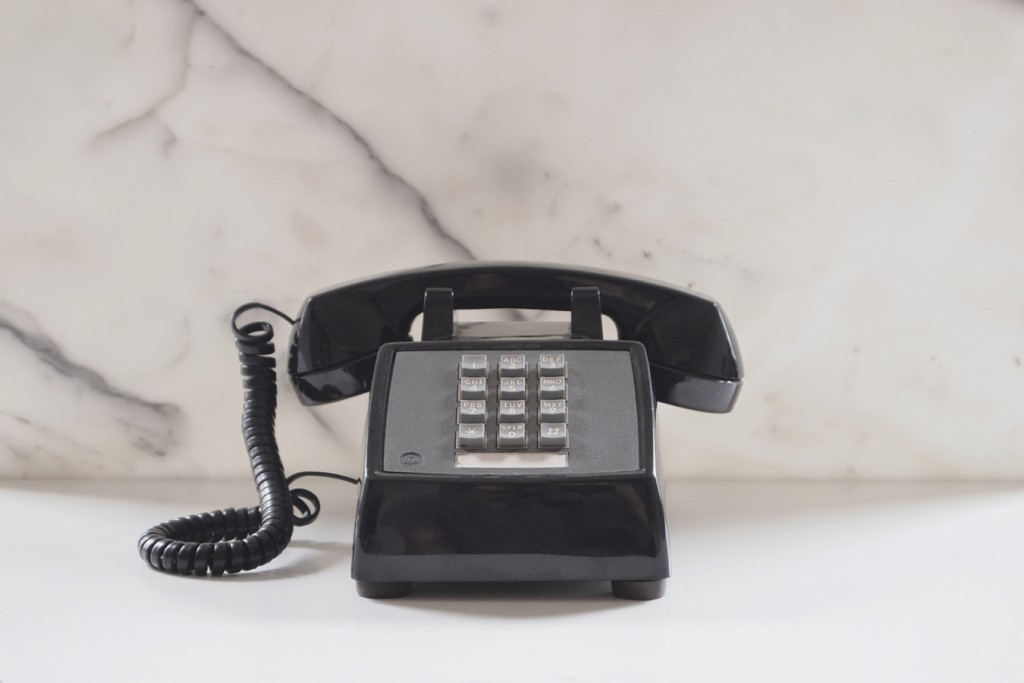Weird Telephone, Only Dials One Number. Black, Western Electric model 2500. Photo credit: VGA Gallery.