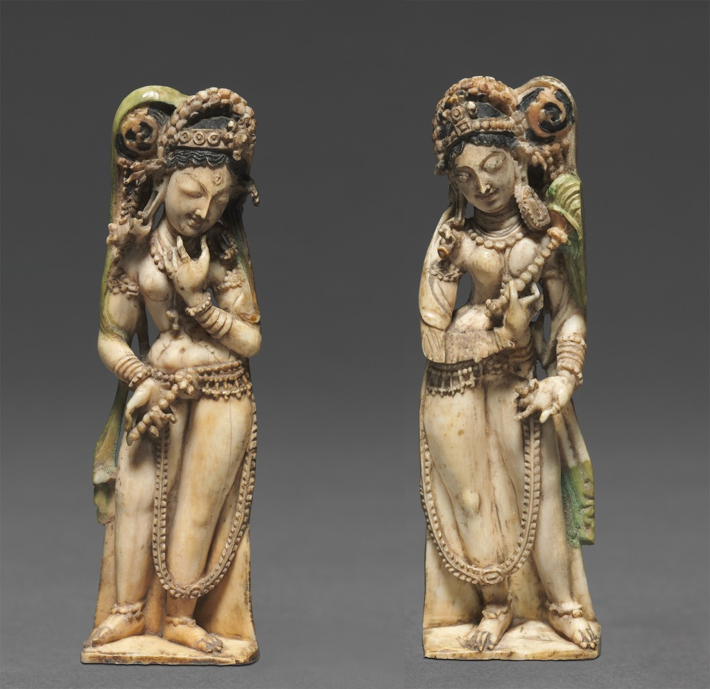 """""""A Pair of Female Attendants,"""" Kashmir, Eighth Century, ivory, from the collection of the Cleveland Museum of Art"""