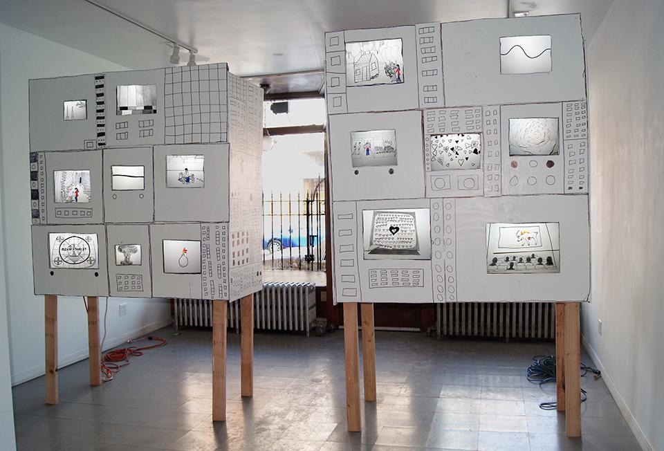 "Meg Duguid. ""Supercomputer,"" 2015, installation view at Slow in Pilsen."