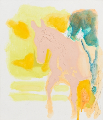 """Andreas Fischer. """"Horse,"""" 2014 oil, acrylic and pencil on canvas, 15"""" x 12"""""""