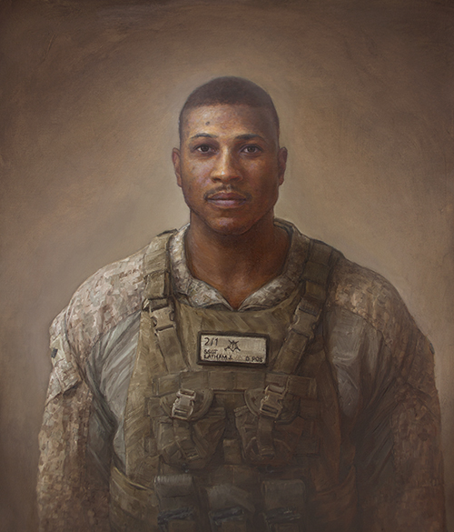 """Matt Mitchell. """"Joseph M Latham, Active Duty Marine, From Freedom, PA,"""" painting part of Mitchell's 100 Faces of War Experience"""" series."""