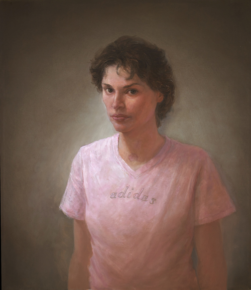 """Matt Mitchell. """"Mariela Meylan, In Recovery, From Livermore, California and Costa Rica,"""" painting part of Mitchell's 100 Faces of War Experience"""" series."""