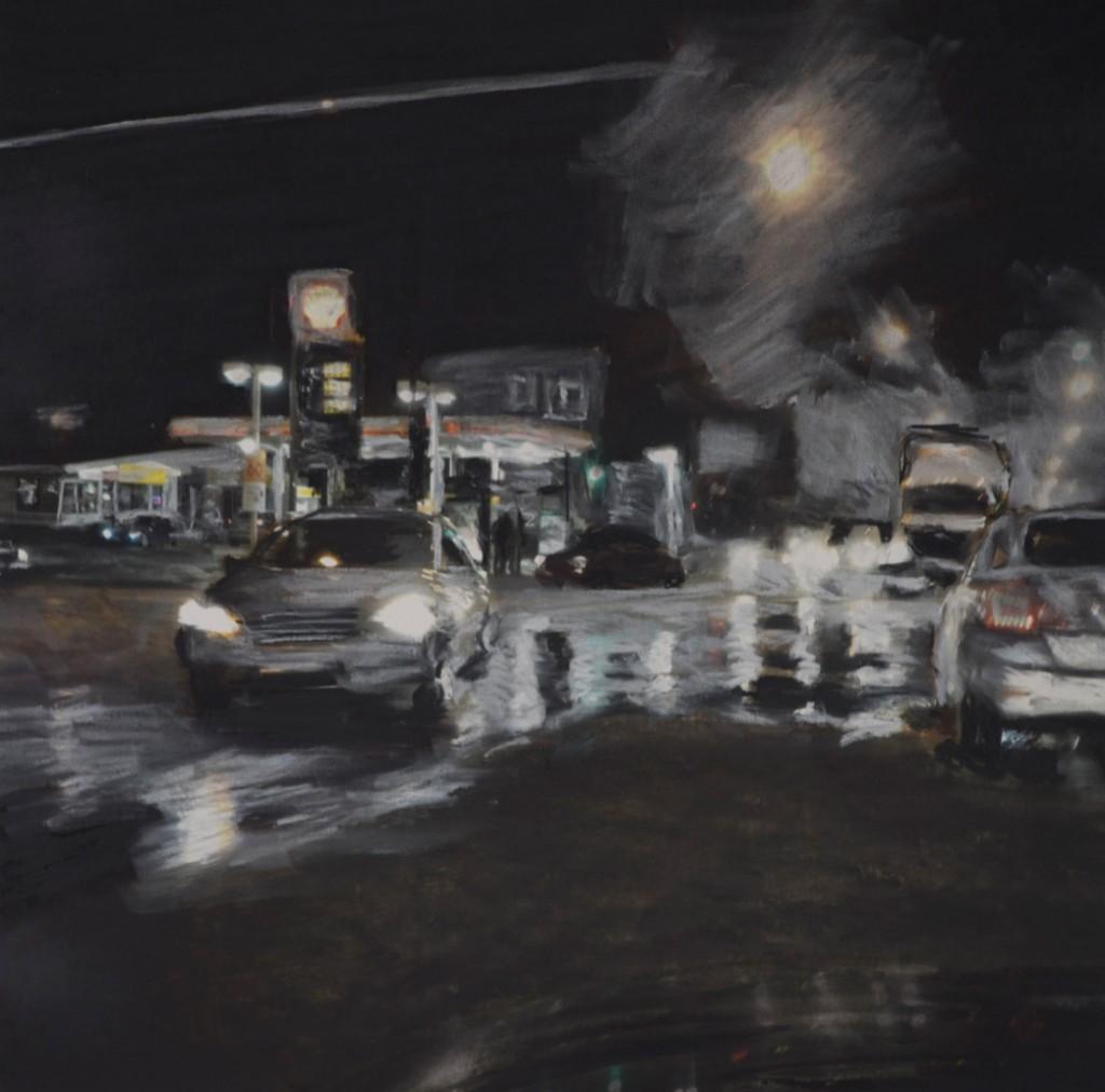 "Doug McGoldrick. ""Night Driver,"" archival inkjet print with charcoal 12"" x 12"""
