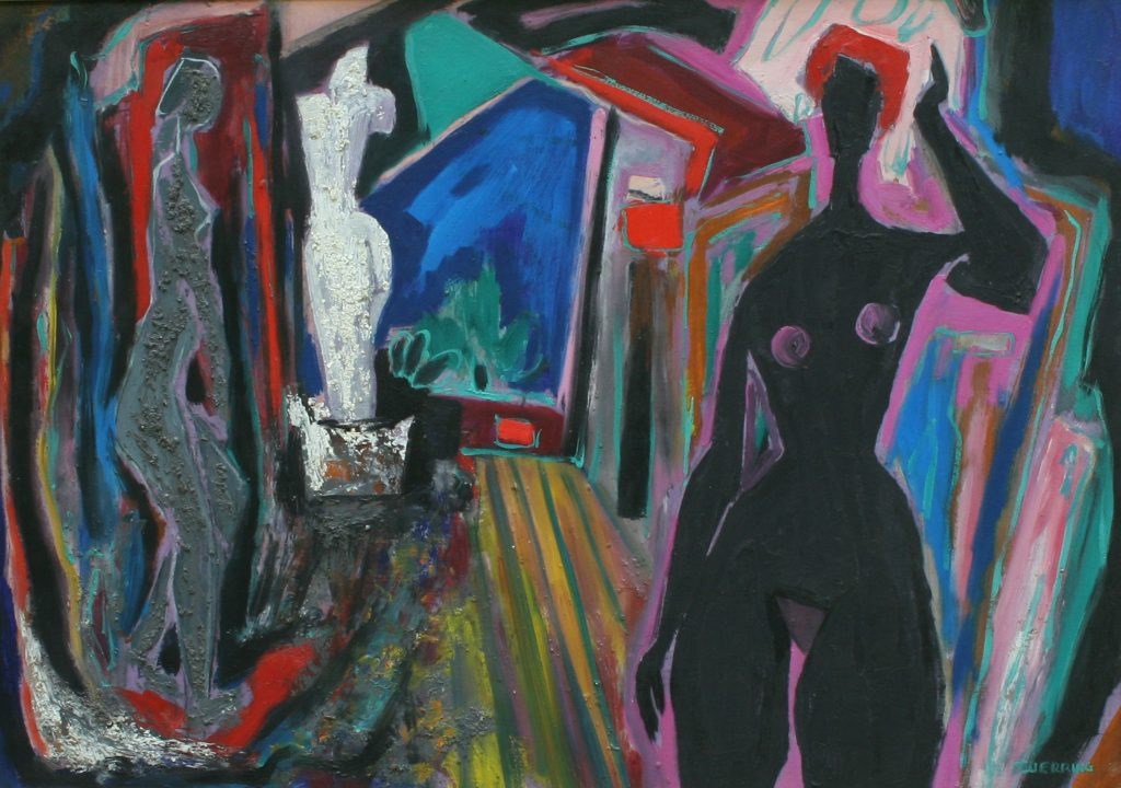 "Maximilian Feuerring. ""The Artist's Studio,"" c. 1955 – 60,  oil on board, 21"" x 30"""