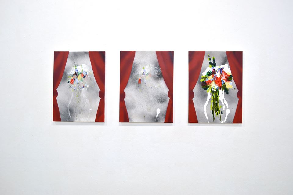 "Morgan Mandalay. ""Still Life of Flowers and Red Curtains,"" 2015 oil paint and spray paint on b.o.g.o. canvas 12"" x 16"" each"