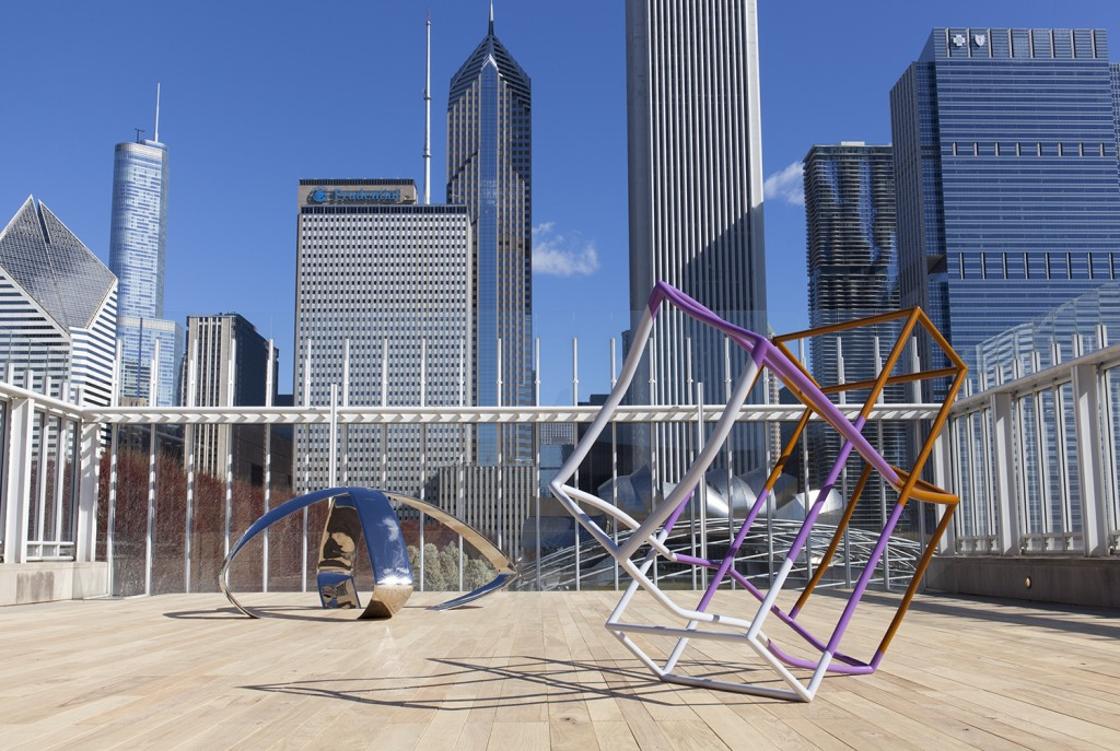 Installation view of Liz Larner,  on the Bluhm Family Terrace, the Art Institute of Chicago