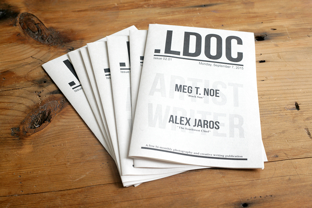 The forthcoming first issue of .LDOC, featuring photographer Meg T. Noe and writer Alex Jaros. Photo by: Joseph Wilcox.
