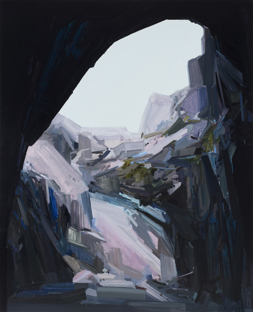 "Claire Sherman. ""Cave,"" 2015 oil on canvas, 96"" x 78"""