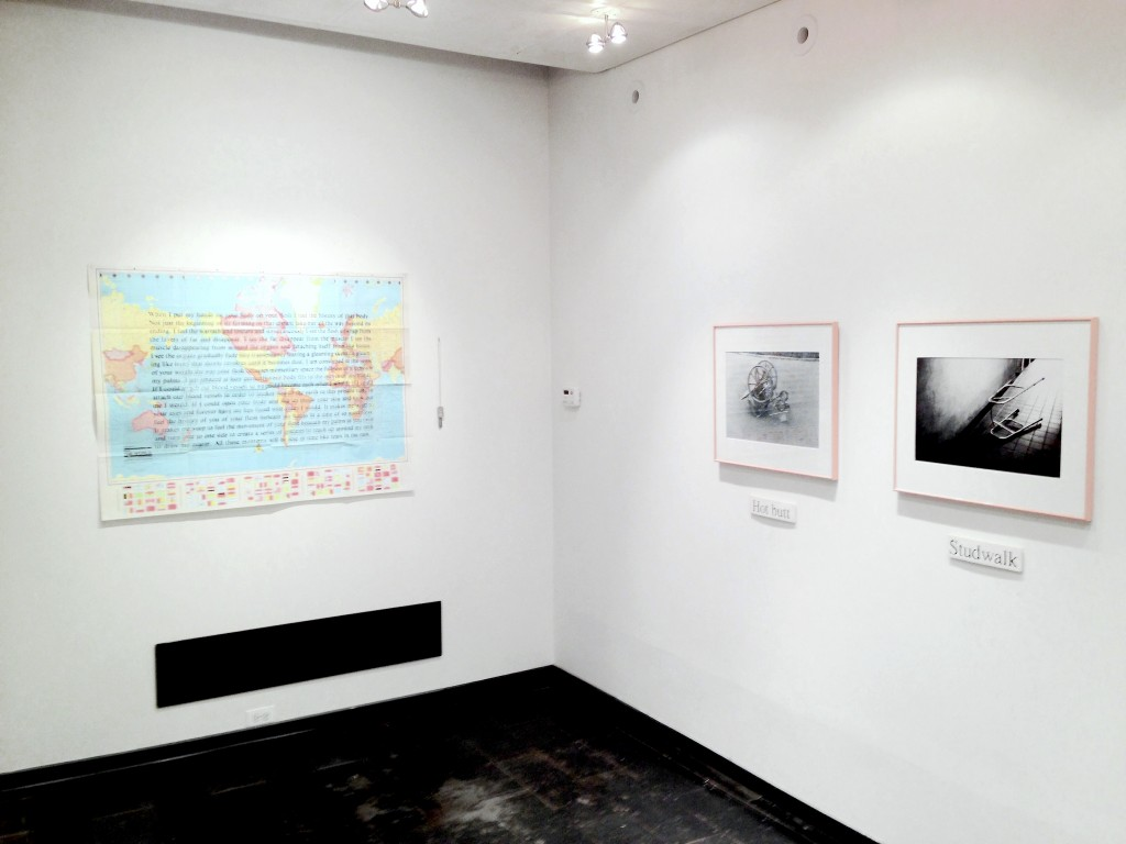 "Installation view of ""Militant Eroticism"" at Iceberg Projects. From left: David Wojnarowicz wall installation; Ray Novarro's photo installation ""Equipped."""