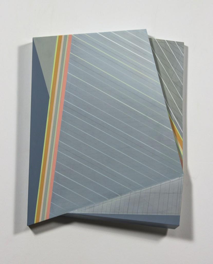 "Rachel Hellmann. ""Window to Lean on,"" 2014 acrylic polymer on panel, 17"" x 14"" x 3"""