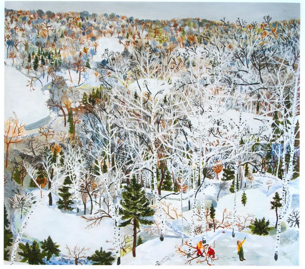 """Sophia Heymans. """"January,""""  acrylic, papier mache, moss and oil on canvas, 48"""" x 54"""""""