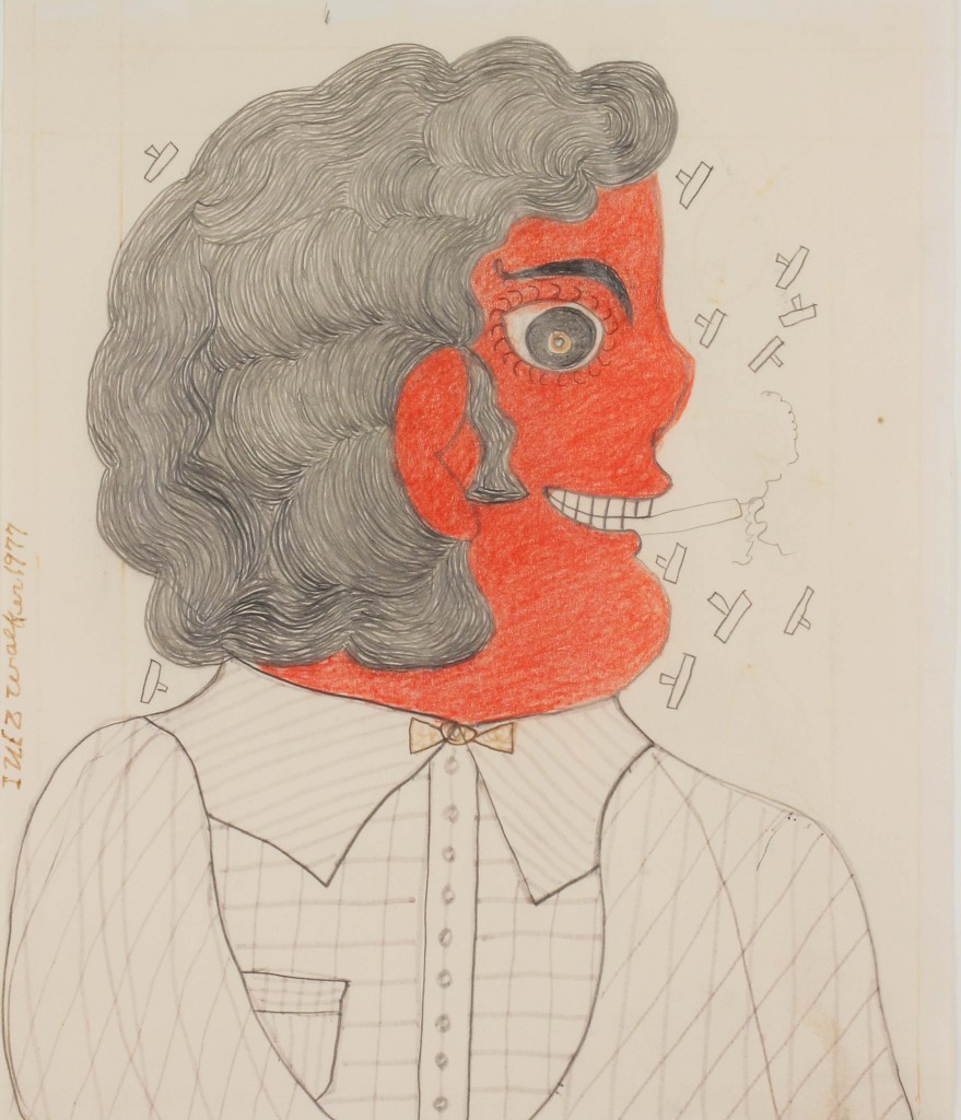 "Inez Walker. ""Untitled (Profile),"" c. 1975 colored pencil, marker and graphite on paper 11"" x 10 1/2"" On view at Russell Bowman Art Advisory"