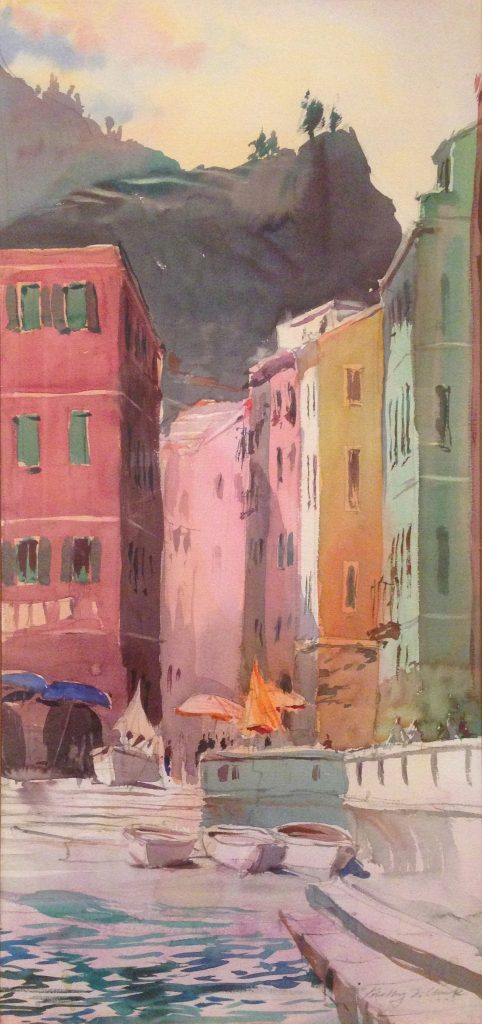 """Timothy J. Clark. """"Vernazza, 1994,"""" 1994 watercolor on paper"""