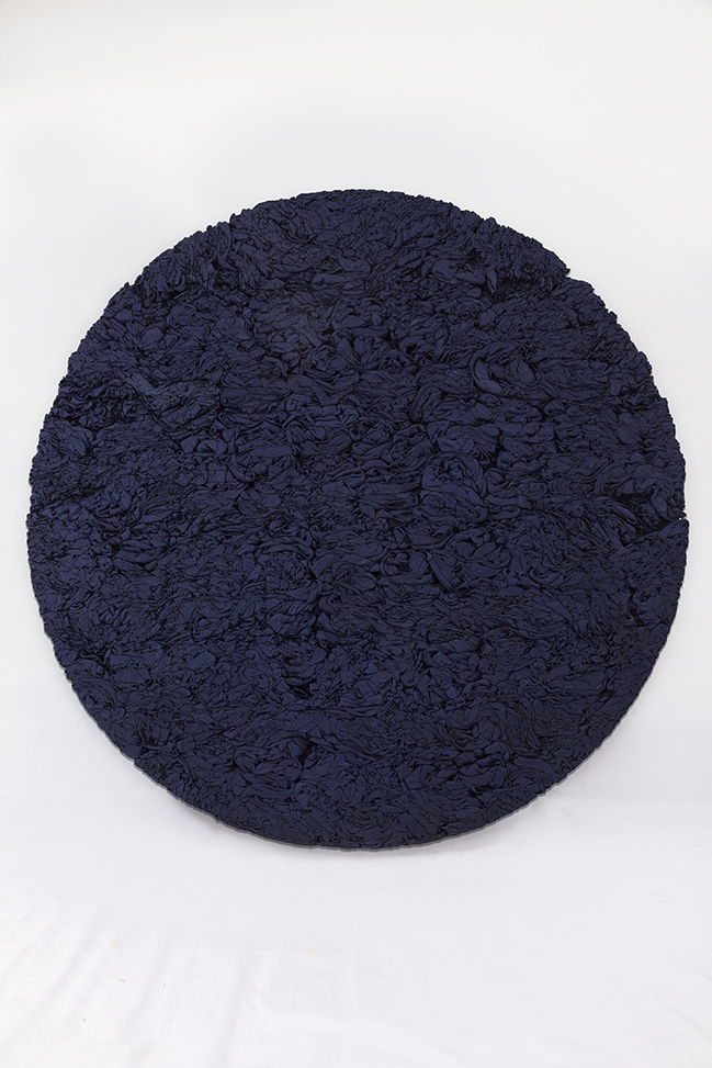 "Manish Nai. ""Untitled,"" 2015 Dyed burlap, 90"" x 4"""