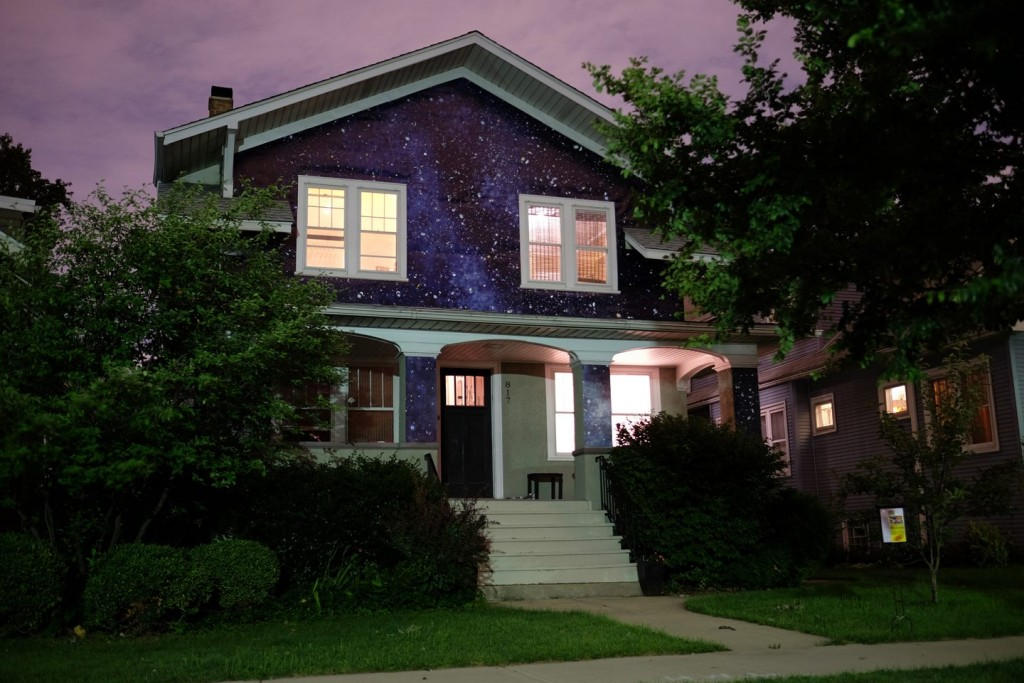 """""""Night Terrain"""" by artist Kate McQuillen and curated by Claudine Ise for the 2nd Terrain Biennial. Located at 817 South Highland Avenue, Oak Park."""