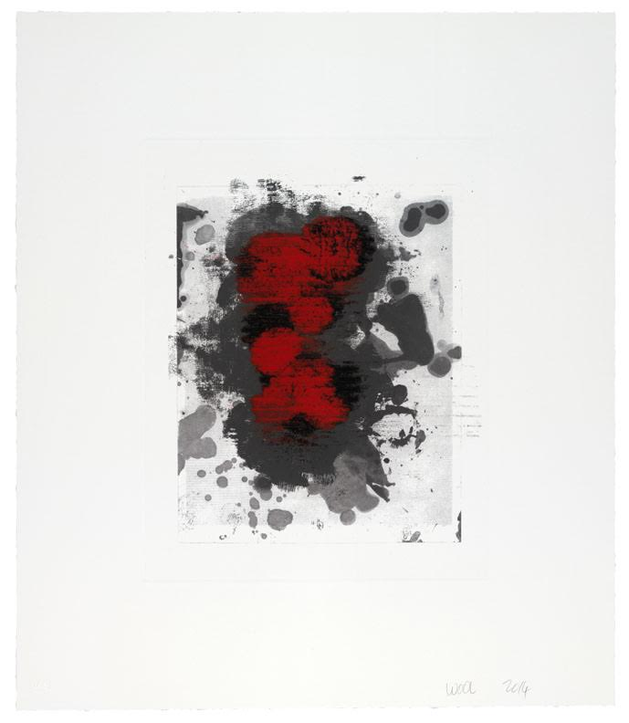 """Christopher  Wool. """"Untitled (17A),"""" 2014. Monotype over photogravure, 22 x 18 7/8 inches."""