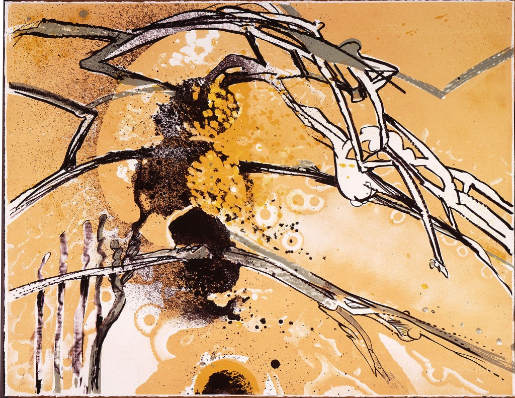 """Richard Hunt/ """"Thru the Branching,"""" 1987. Color lithograph, 22 x 30 inches."""