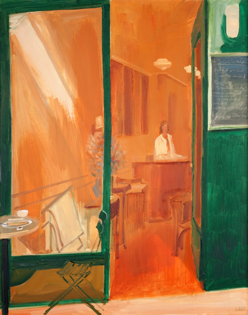 """Maurice Lapp. """"South Park Cafe"""" c. 1988. Oil on canvas, 24 x 31 inches."""