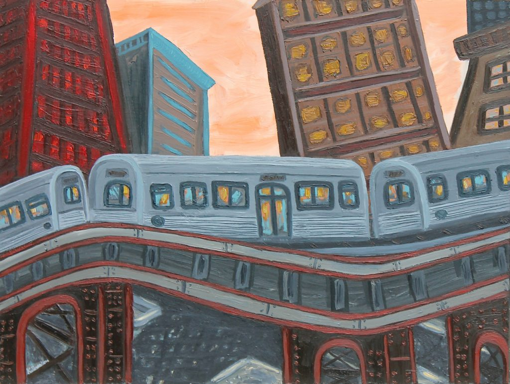 "Kevin Swallow. ""Transit Skyline,"" 2014. Oil on panel, 18 x 24 inches."