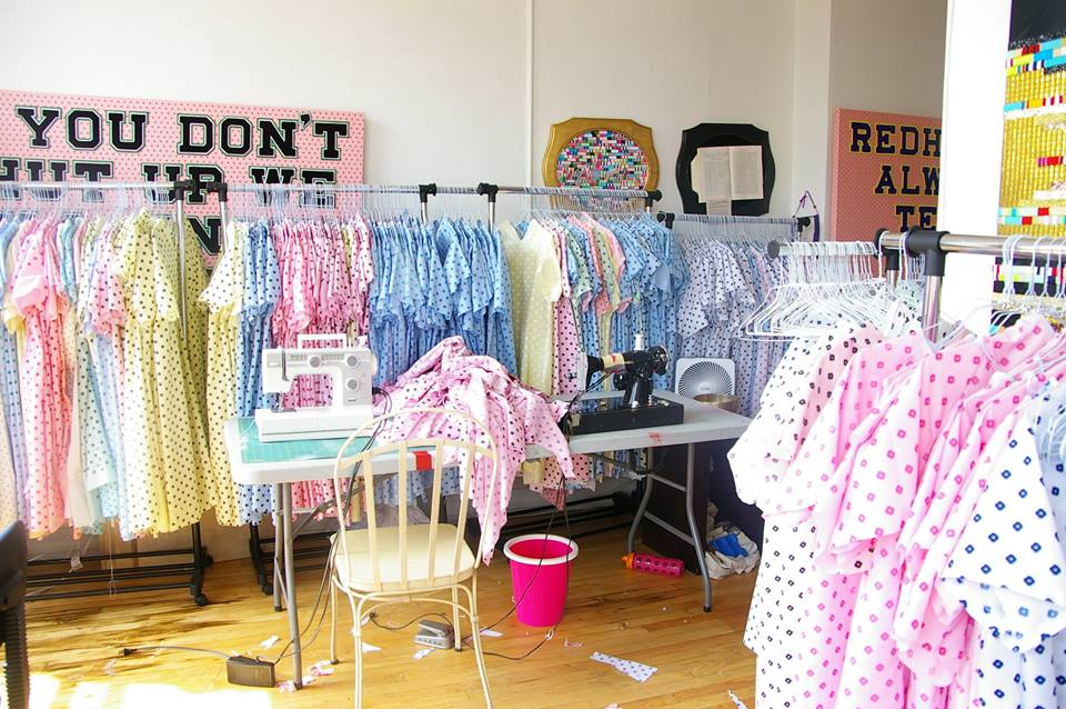 Hartney's studio during the making of the hospital gowns, 2015.