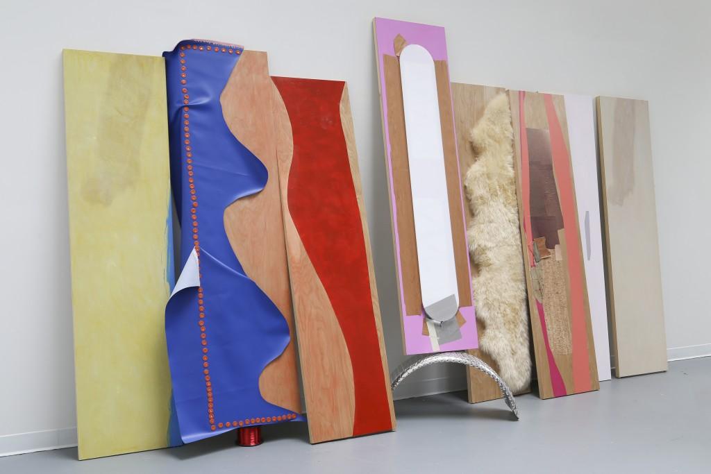 """Jessica Stockholder. Installation view, """"Door Hinges,"""" 2015."""
