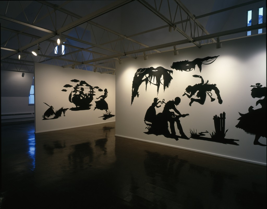 Kara Walker, Presenting Negro Scenes Drawn upon My Passage Through the South and Reconfigured for the Benefit of Enlightened Audiences Wherever Such May Be Found, by Myself, Missus K.E.B. Walker, Colored, installation view at the Renaissance Society, 1997.