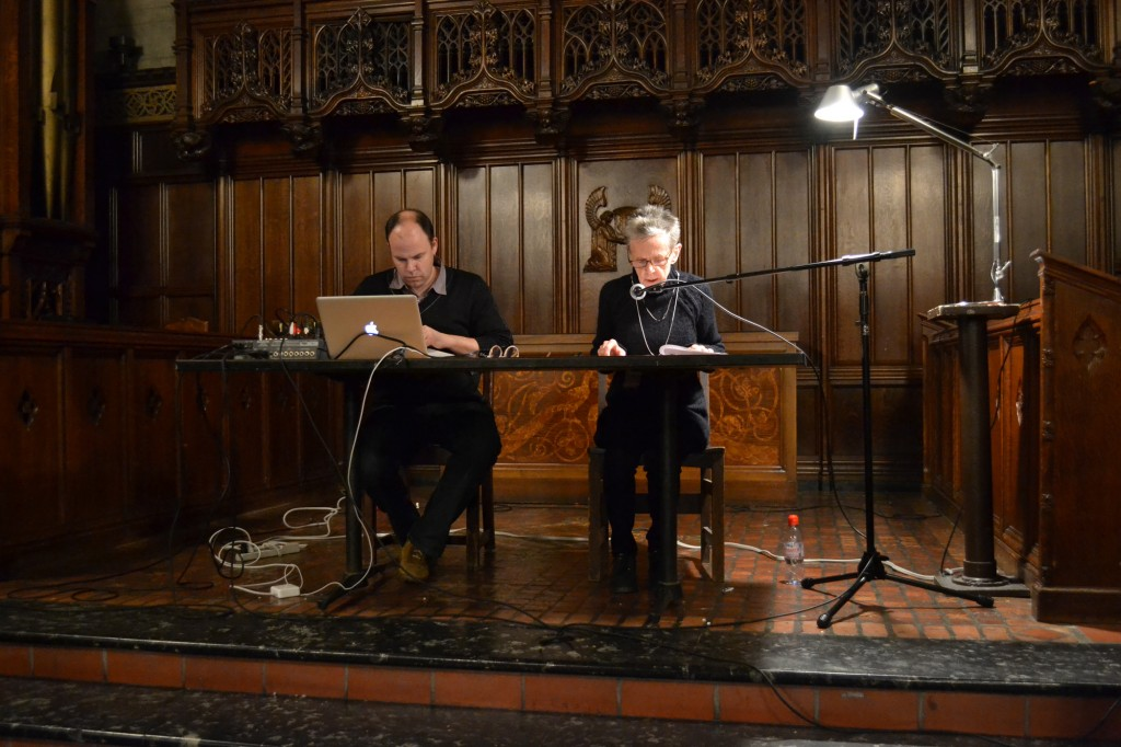 David Grubbs & Susan Howe perform Woodslippercounterclatter in Fulton Recital Hall, University of Chicago, November 2014.