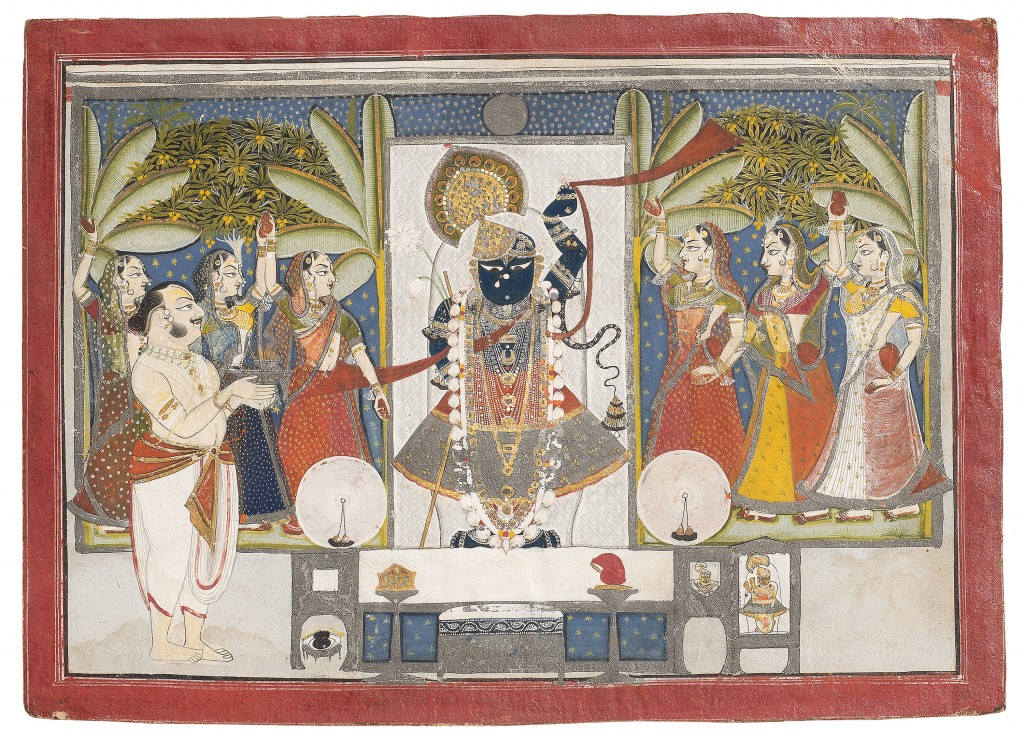 """Dauji II Performing Arati on Sharada Purnima?,"" First quarter of the 19th century. Nathdwara, Rajasthan, India. Amit Ambalal Collection. / Photo: Anuj Ambalal."