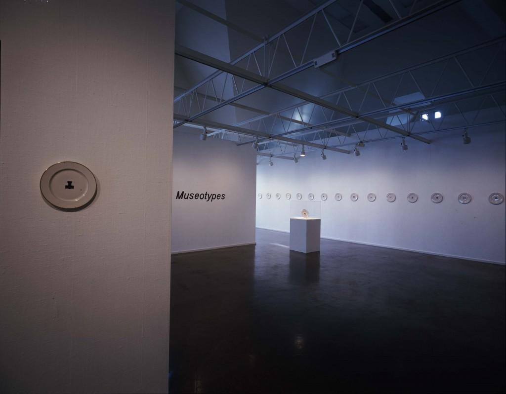 "John Knight. Installation view of ""Museotypes,"" 1983. / Photo: Renaissance Society."