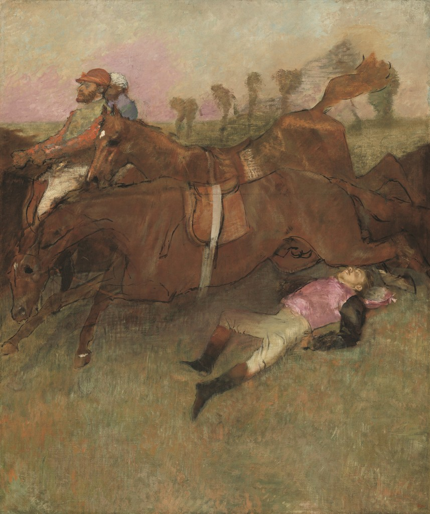 "Edgar Degas. ""Scene from the Steeplechase: The Fallen Jockey,"" 1866, reworked 1880-1881 and c. 1897. National Gallery of Art, Washington, Collection of Mr. and Mrs. Paul Mellon."