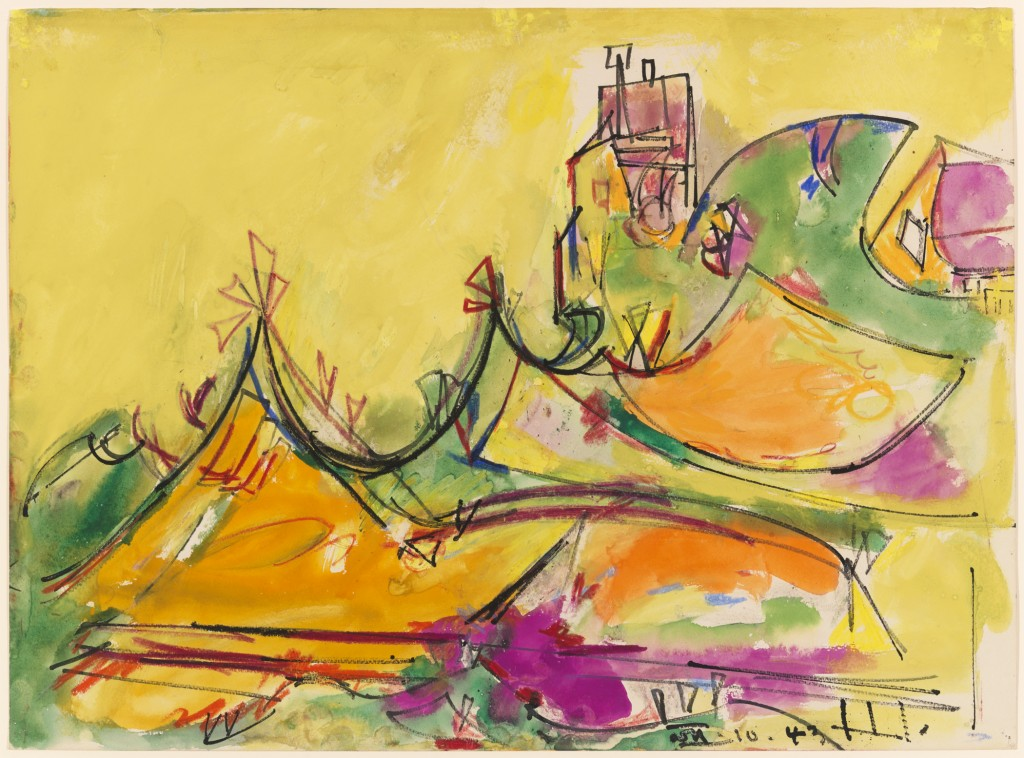 """Hans Hofmann. """"House on the Hill,"""" 1943. Ink and watercolor on wove paper. Smart Museum of Art, The University of Chicago, from the collection of Janice and Henri Lazarof, 2000.35."""