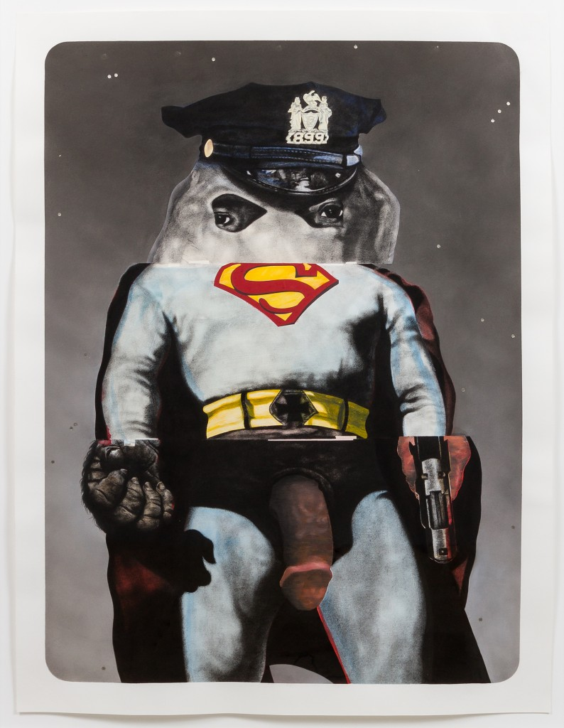 "Nathaniel Mary Quinn. ""The Making of Super Nigga,"" 2015. Black charcoal, gouache, soft pastel, oil pastel, oil paint, paint stick, acrylic silver leaf on Coventry Vellum paper, 50 x 38 inches, paper; 56 x 44 inches, framed. Photo: RCH 