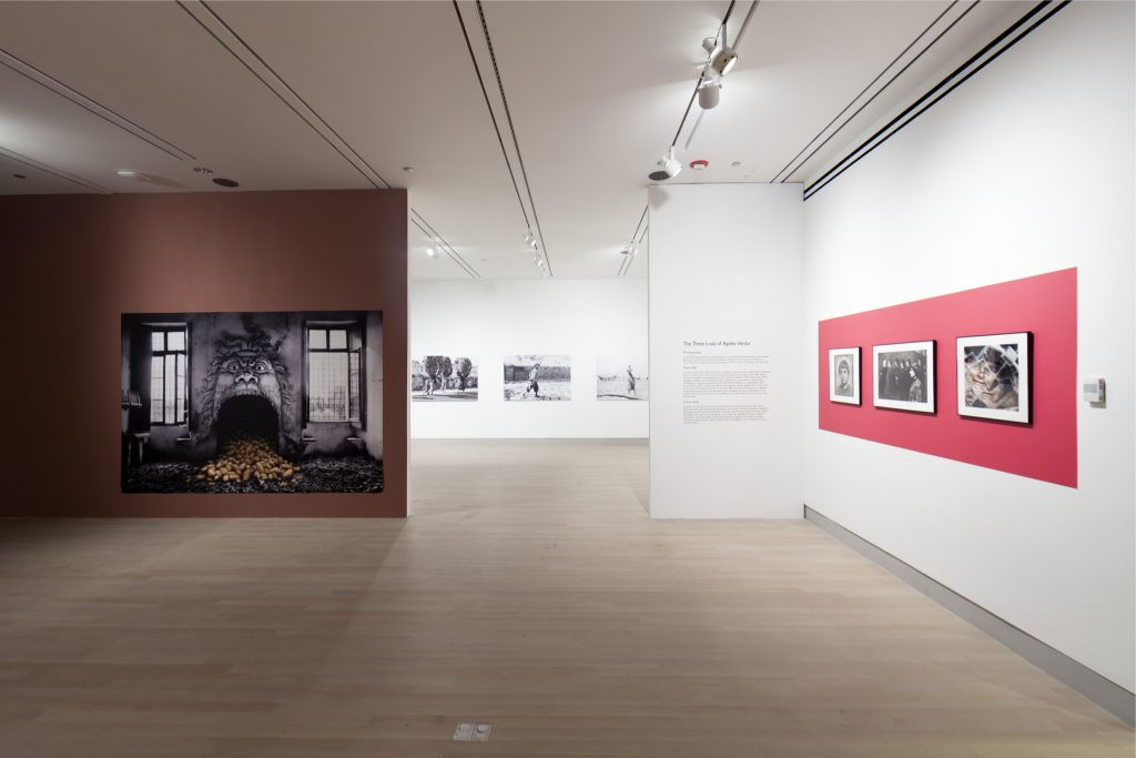 "Installation view of Agnès Varda: Photographs Get Moving (potatoes and shells, too). Artworks pictured: ""The Potato Chimney,"" 2003, digital print; ""Walking Pictures,"" 1956-58, silver photographs, digital print; ""Self-Portrait,"" 1949, photograph, silver print on Baryte paper; ""Agnès Varda In Venice in front of a Bellini Painting,"" 1962, photograph, silver print on Baryte paper; ""Fractured Self-Portrait,"" 2009, photograph, digital print."