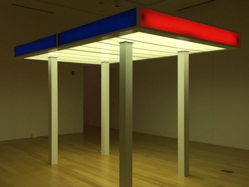 "Matt Sibler. ""Lighted Shelter,"" 2015. Aluminum, plexiglas and florescent lights."