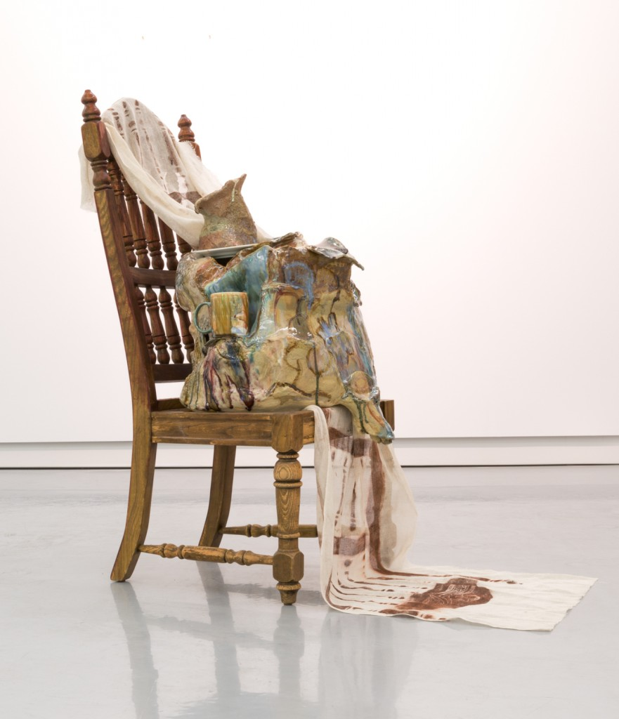 "Jessica Jackson Hutchins. ""Self-Reflection,"" 2015. Chair, print on linen, glazed ceramic, 45 1/2 x 24 x 20 inches."