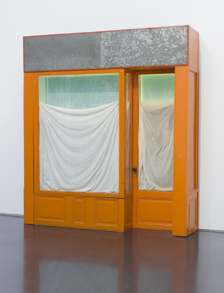"""Christo. """"Orange Store Front,"""" 1964–65. /Photo: Nathan Keay."""