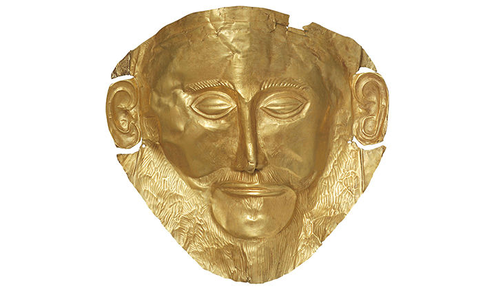 """Replica of the """"Mask of Agamemnon."""" /Photo: Archaeological Museum of Mycenae."""
