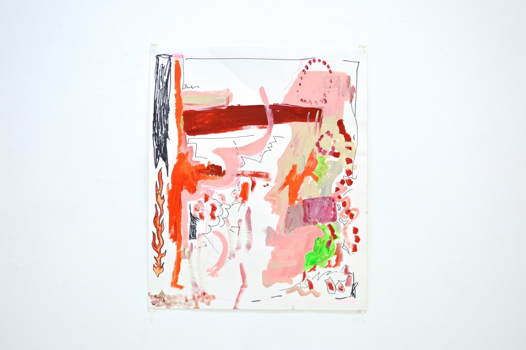 "Benjamin Barretto. ""Super Flexer,"" 2015. Acrylic and marker on paper, 14 x 17 inches."