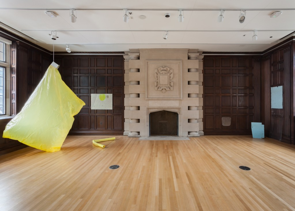 "Ian Kiaer. ""Endnote, Ledoux, (yellow),"" 2016. Plastic, aluminum fan, foam, pencil and ink on paper under Plexiglas, dimensions variable."