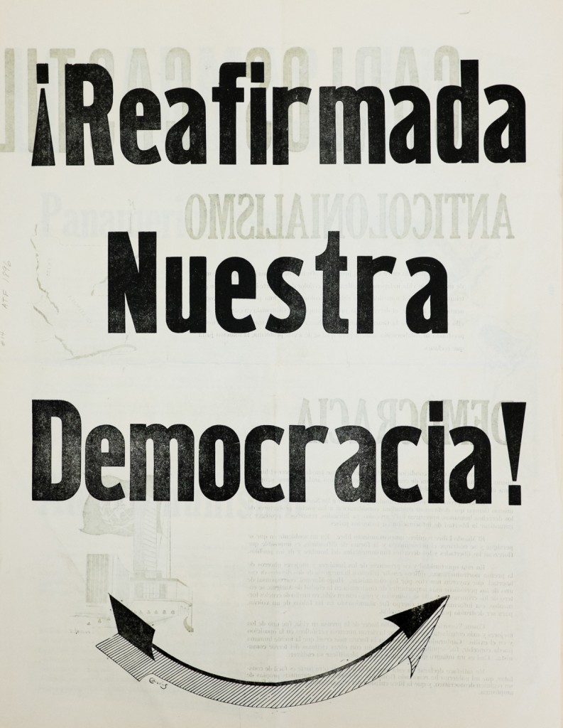 """¡Reafimada nuestra democracia!,"" Newsprint Broadside, 1954."