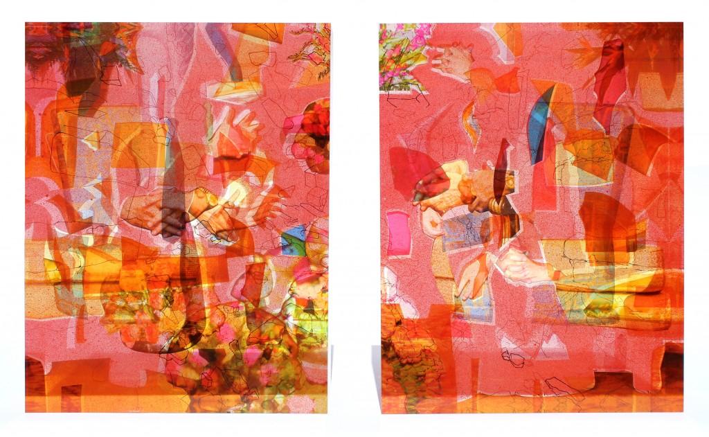 "Anna Elise Johnson. ""Red Regalia,"" 2015. Acrylic, resin, archival digital print, India Ink, spray paint, 18 x 15 x 5 inches each."