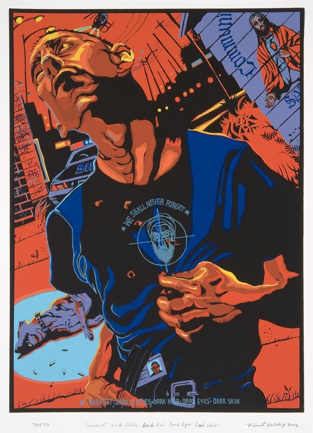 """Vincent Valdez. """"Suspect: Dark Clothes, Dark Hair, Dark Eyes, Dark Skin,"""" 2002. Screenprint. /Photo: the McNay Art Museum"""