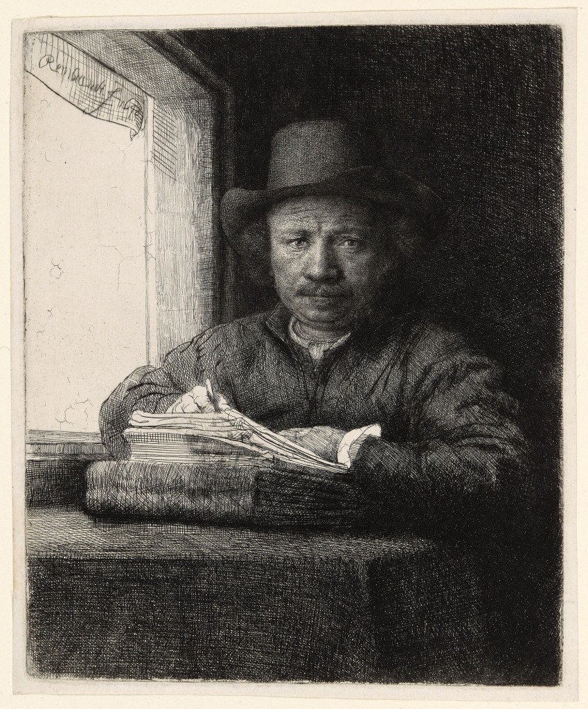 """Rembrandt van Rijn (Dutch, 1606–1669). """"Self-Portrait Etching at a Window,"""" 1648. Etching, drypoint and burin in black on ivory laid paper, 156 x 130 mm (image/plate); 165 x 136 mm (sheet)."""