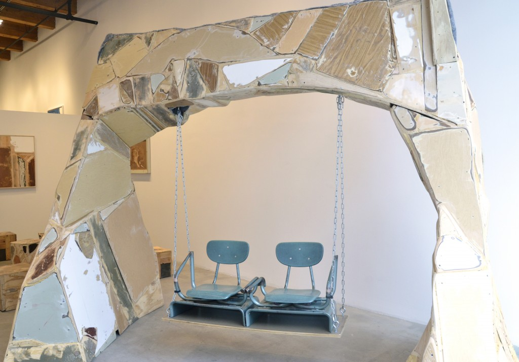 """John Preus. """"Swingset,"""" 2015. Materials salvaged from recently closed Chicago public schools, 8' x 9' 5"""" x 5' 5"""". /Photo: Rhona Hoffman Gallery."""