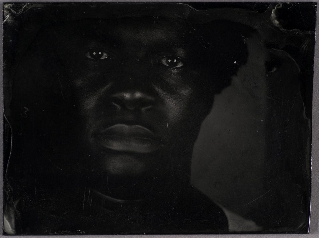 "Myra Greene. ""Untitled (Ref. #07) from Character Recognition,"" 2006-2007. Black glass ambrotype, 3 x 3 4/5 inches"