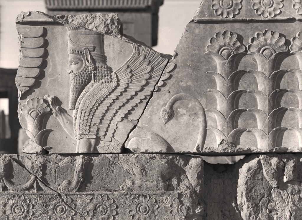 """Winged sphinx from the Palace of Darius at Persepolis, Iran,"" from ""Persepolis: Images of an Empire,"" at the Oriental Institute, 2016."