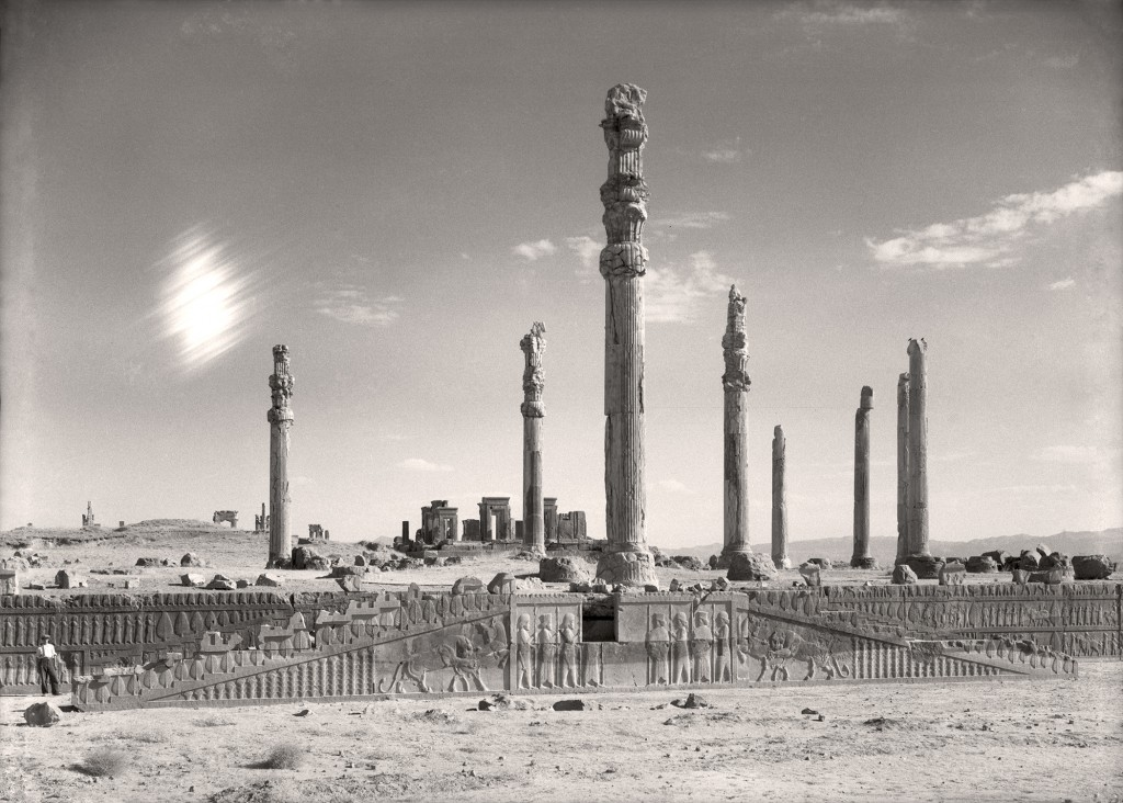 """View of the eastern stairway and columns of the Apadana (Audience Hall) at Persepolis, Iran,"" from ""Persepolis: Images of an Empire,"" at the Oriental Institute, 2016."